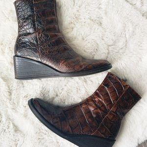 DONALD J. PLINER Croc Leather Brooky Wedge Boots